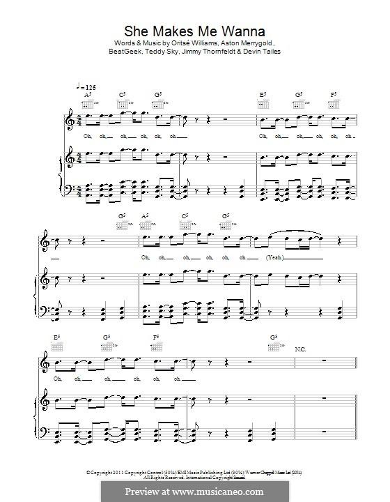 She Makes Me Wanna (JLS Ft. Dev): Für Stimme und Klavier (oder Gitarre) by BeatGeek, Aston Merrygold, Devin Star Tailes, Jimmy Thornfeldt, Oritsé Williams, Teddy Sky