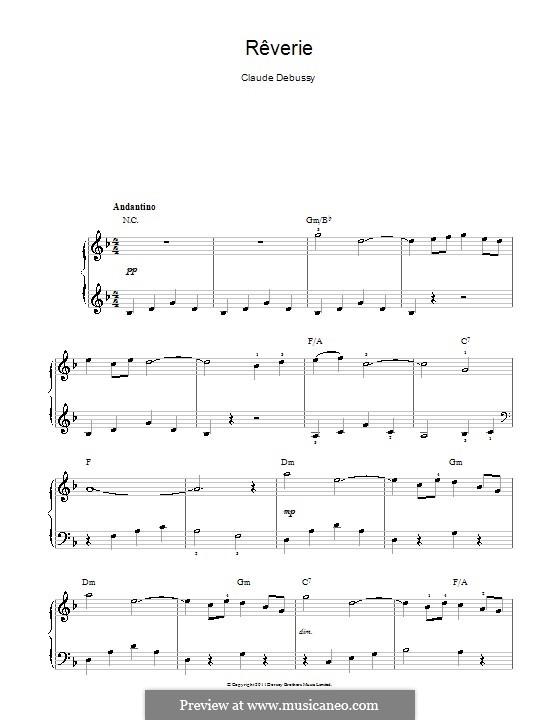 Rêverie, L.68: Für Klavier, leicht by Claude Debussy