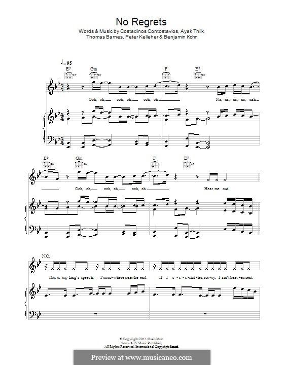 No Regrets (Dappy): Für Stimme und Klavier (oder Gitarre) by Ayak Thiik, Benjamin Kohn, Costadinos Contostavlos, Peter Kelleher, Thomas Barnes
