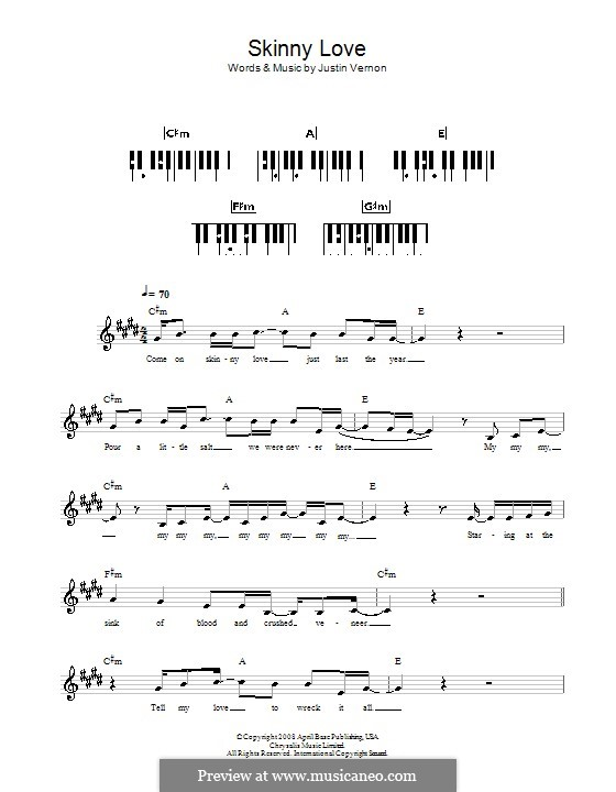 Skinny Love (Bon Iver): Für Keyboard by Justin Vernon