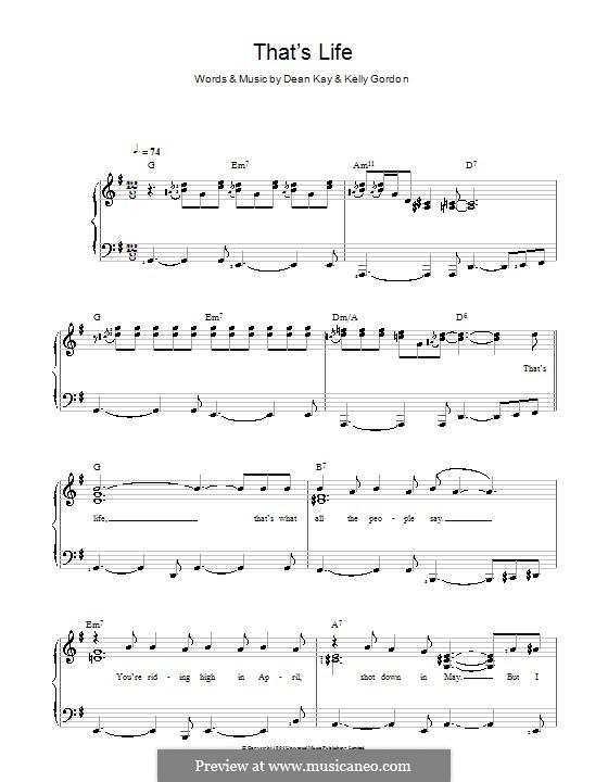 That's Life (Frank Sinatra): Für Stimme und Klavier by Dean Kay, Kelly Gordon