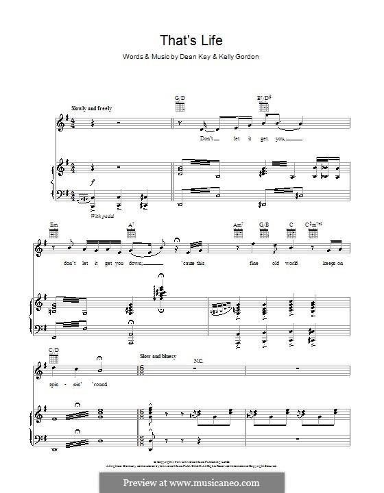 That's Life (Frank Sinatra): Für Stimme und Klavier (oder Gitarre) by Dean Kay, Kelly Gordon