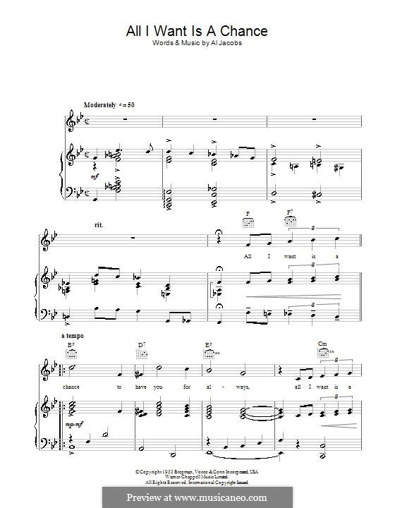 All I Want Is a Chance: Für Stimme und Klavier (oder Gitarre) by Al Jacobs