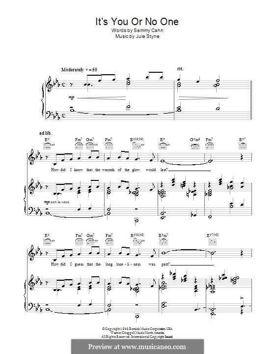 It's You or No One (Sarah Vaughan): Für Stimme und Klavier (oder Gitarre) by Jule Styne