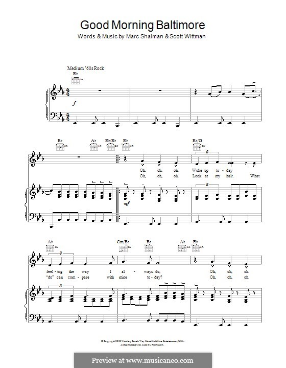 Good Morning Baltimore (from Hairspray): Für Stimme und Klavier oder Gitarre (Es-Dur) by Marc Shaiman