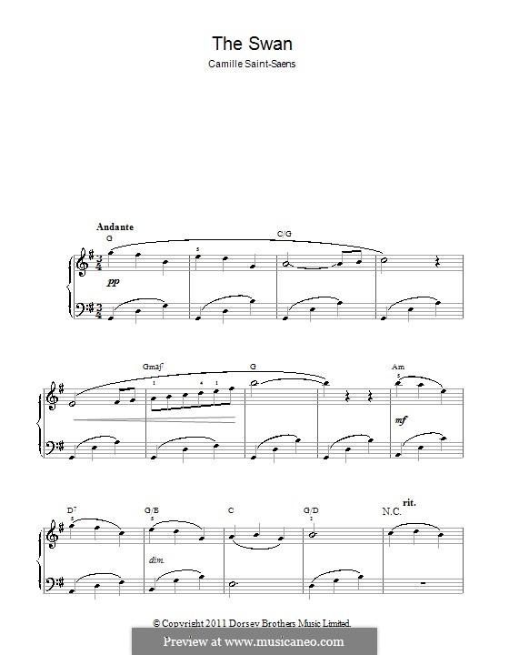 Der Schwan: Klavierversion für Anfänger by Camille Saint-Saëns