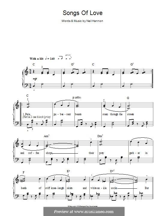 Songs of Love (The Divine Comedy): Für Klavier, leicht by Neil Hannon