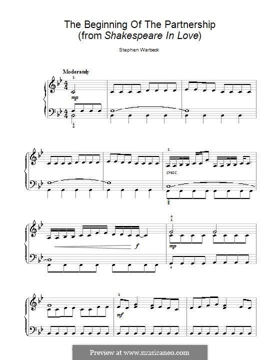 The Beginning of the Partnership (from Shakespeare in Love): Einfache Noten für Klavier by Stephen Warbeck