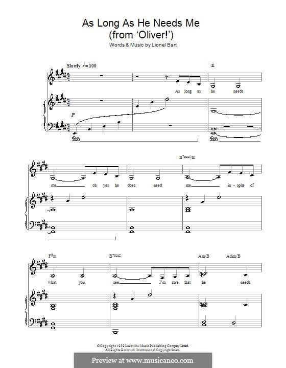 As Long as He Needs Me (from Oliver!): Für Stimme und Klavier (oder Gitarre) by Lionel Bart