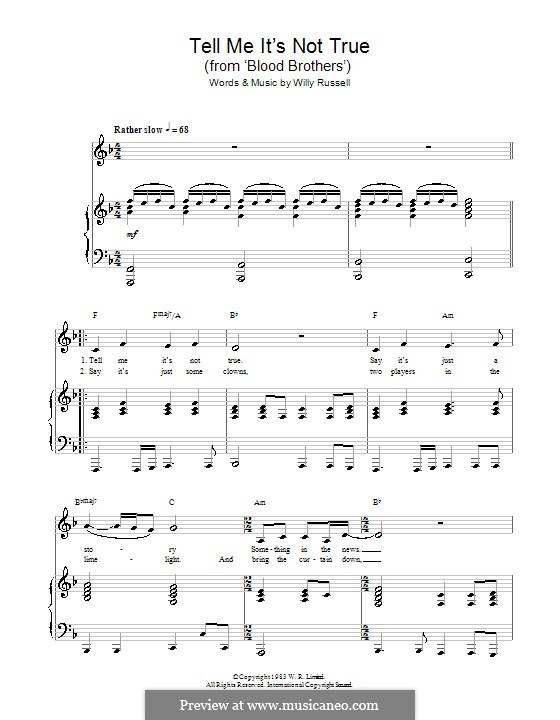 Tell Me It's not True (from Blood Brothers): Für Stimme und Klavier (oder Gitarre) by Willy Russell