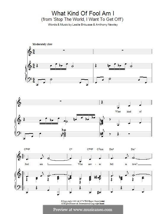 What Kind of Fool am I: Für Stimme und Klavier (oder Gitarre) by Anthony Newley, Leslie Bricusse