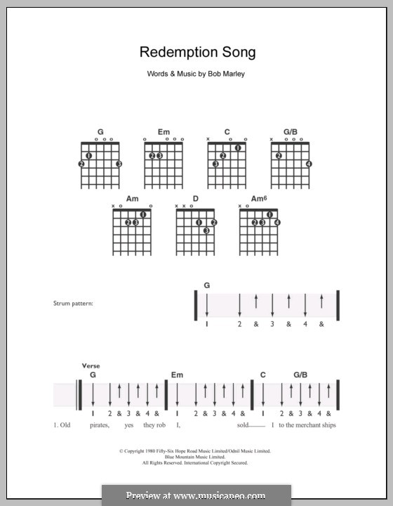 Redemption Song: Für Gitarre by Bob Marley