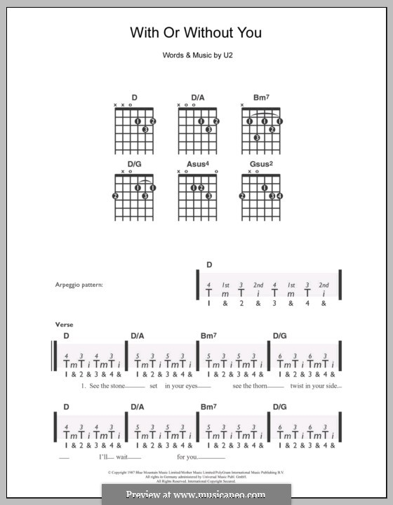 With or without You: Für Gitarre by U2