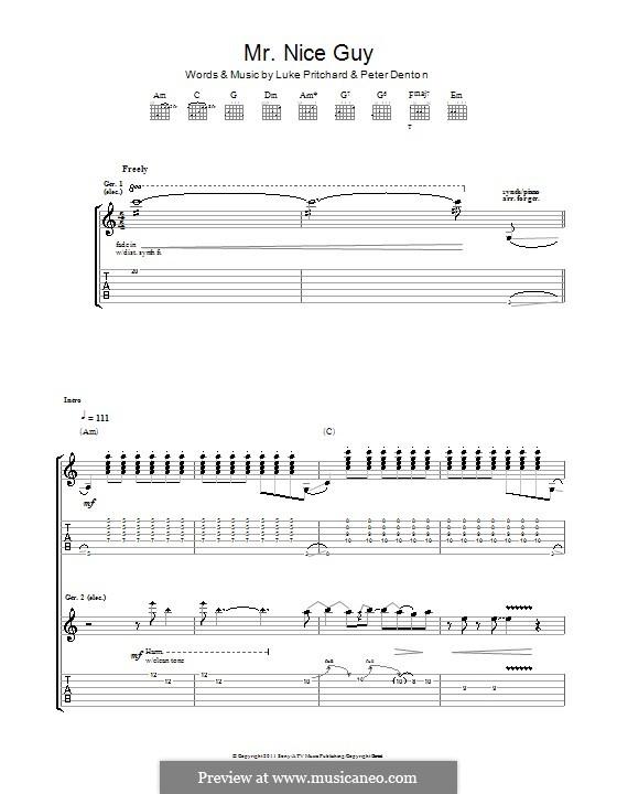Mr. Nice Guy (The Kooks): Für Gitarre mit Tabulatur by Luke Pritchard, Peter Denton