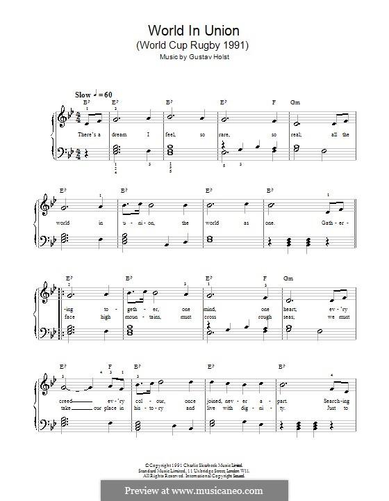 World in Union (World Cup Rugby 1991): Für Stimme und Klavier by Gustav Holst