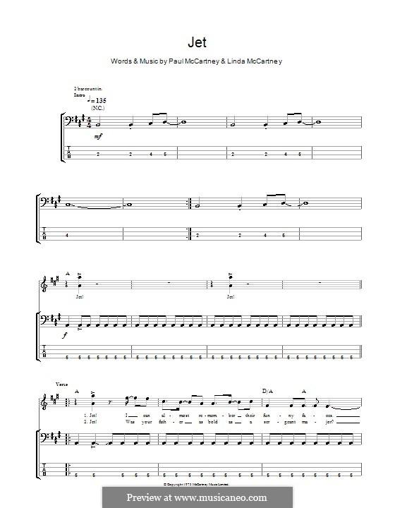 Jet (Wings): Für Bassgitarre mit Tabulatur by Linda McCartney, Paul McCartney