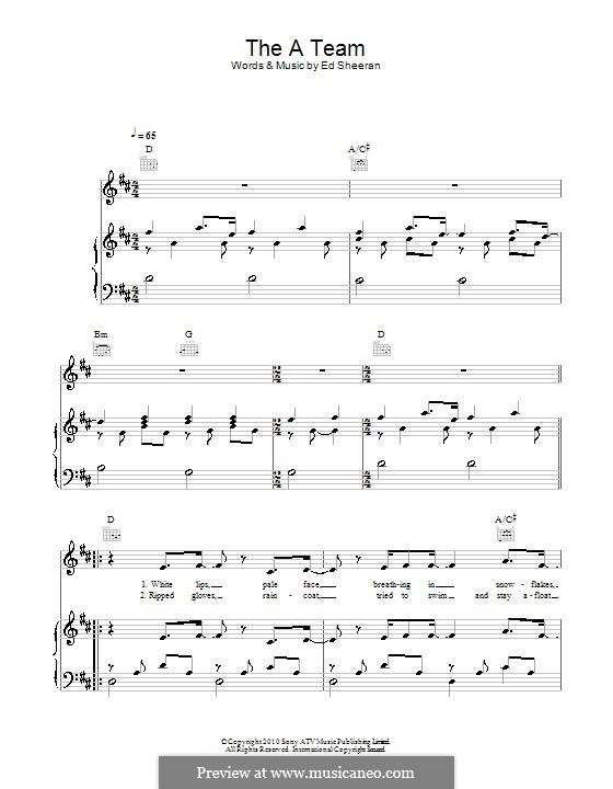 The a Team: Für Stimme mit Klavier oder Gitarre (Birdy) by Ed Sheeran