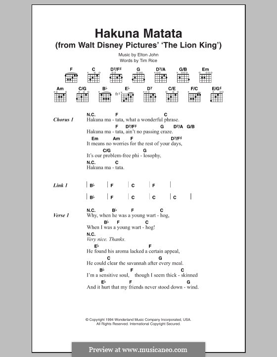 Hakuna Matata (from The Lion King): Für Stimme und Klavier by Elton John