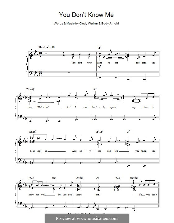 You Don't Know Me: Für Stimme und Klavier (Ray Charles) by Cindy Walker, Eddy Arnold