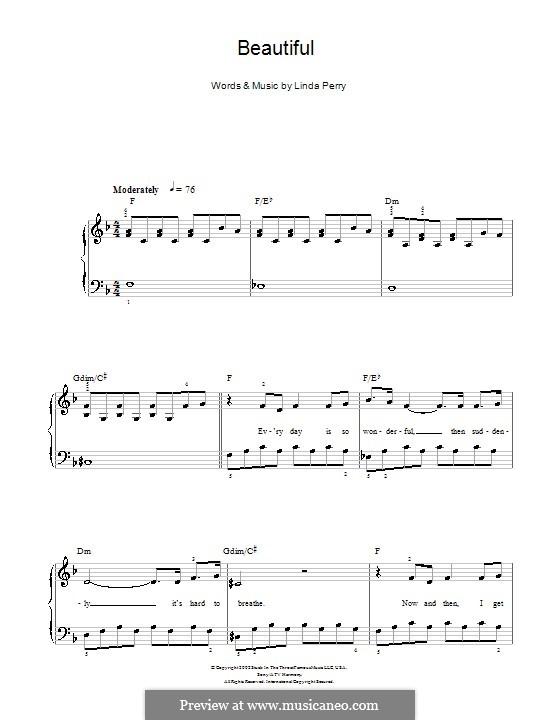 Beautifull (Christina Aguilera & Beverly McClellan): Für Klavier, leicht (F-Dur) by Linda Perry