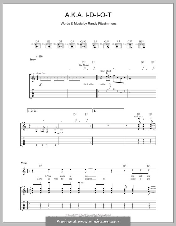 A.K.A. I-D-I-O-T (The Hives): Für Gitarre mit Tabulatur by Randy Fitzsimmons