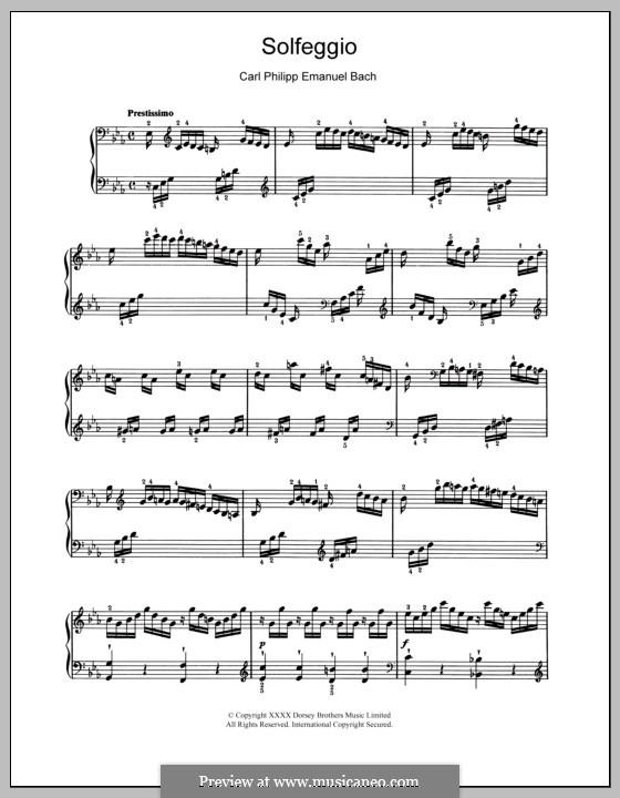 Solfeggietto, H 220 Wq 117:2: Für Klavier (mit Applikatur) by Carl Philipp Emanuel Bach