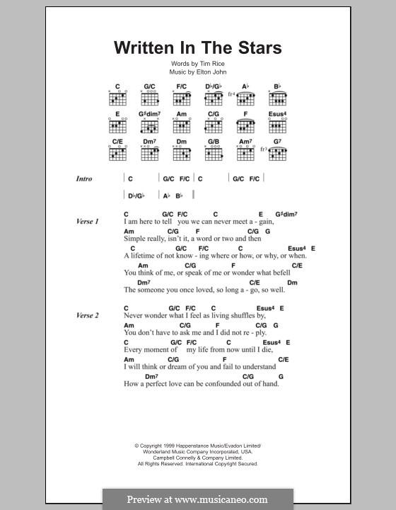Written in the Stars: Text und Akkorde by Elton John