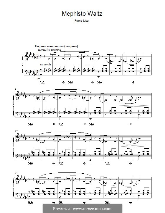 Walzer Nr.1 in A-Dur 'Der Tanz in der Dorfschenke', für Klavier, S.514: Fragment by Franz Liszt