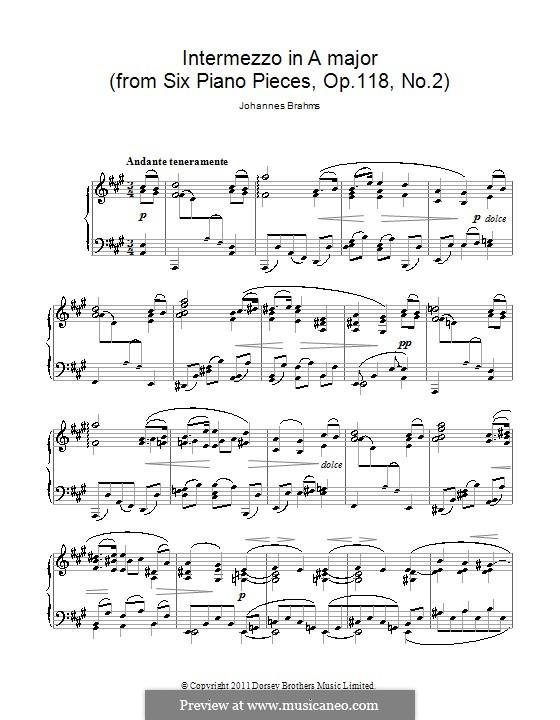 Sechs Stücke, Op.118: Nr.2 Intermezzo in A-Dur by Johannes Brahms