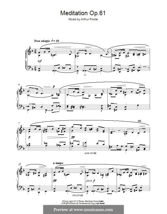 Meditation, Op.61: Für Klavier by Arthur  Foote