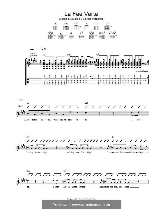 Le Fee Verte (Kasabian): Für Gitarre mit Tab by Sergio Pizzorno