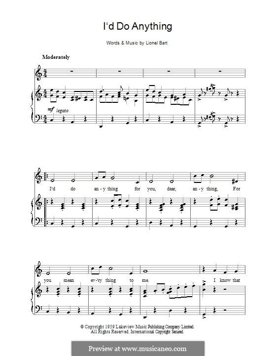 I'd Do Anything (from Oliver!): Für Stimme und Klavier by Lionel Bart