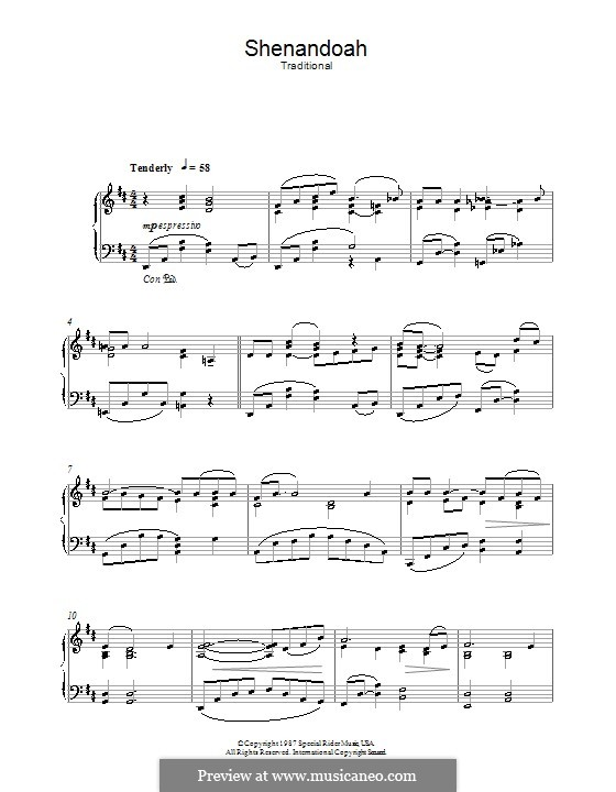 Shendandoah River: Für Klavier by folklore