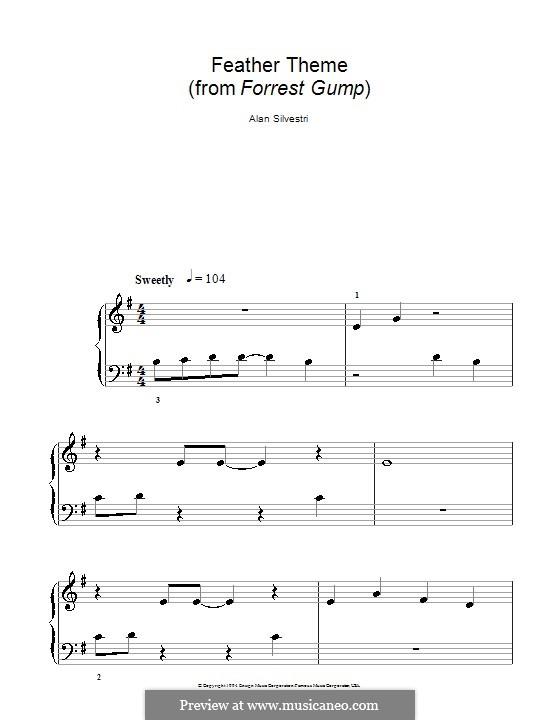 Forrest Gump Suite (Theme): Für Klavier (leichte Fassung mit Applikatur) by Alan Silvestri
