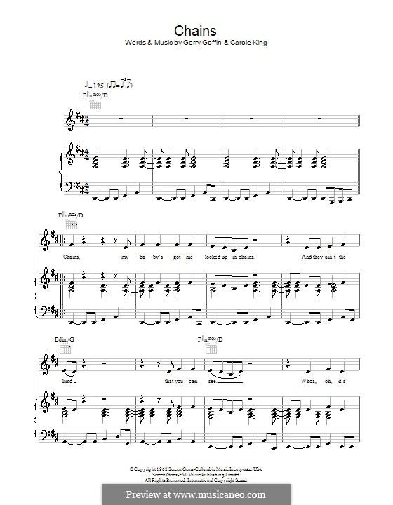 Chains: Für Stimme mit Klavier oder Gitarre (The Cookies) by Carole King, Gerry Goffin