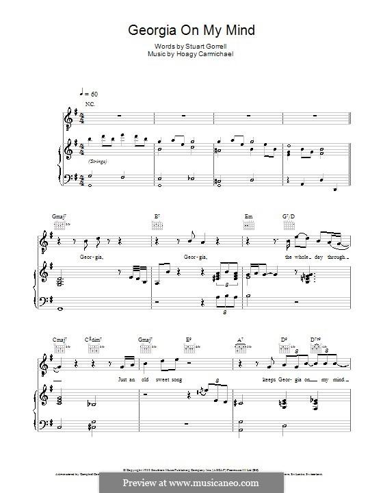 Georgia on My Mind: Für Stimme mit Klavier oder Gitarre (Ray Charles) by Hoagy Carmichael