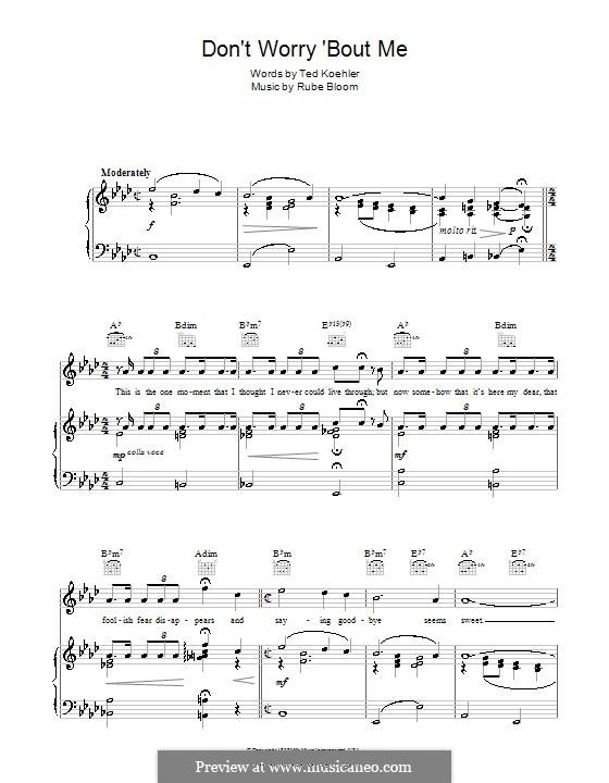Don't Worry 'Bout Me (Frank Sinatra): Für Stimme und Klavier (oder Gitarre) by Rube Bloom