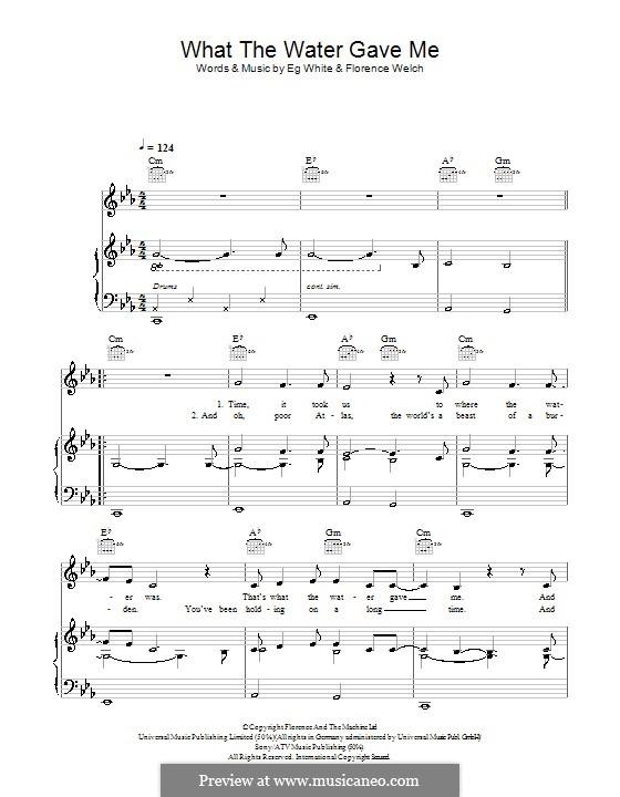 What the Water Gave Me: Für Stimme und Klavier (oder Gitarre) by Florence Welch, Eg White