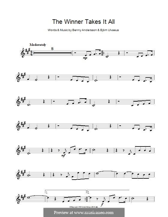 The Winner Takes it All (ABBA): Für Klarinette by Benny Andersson, Björn Ulvaeus