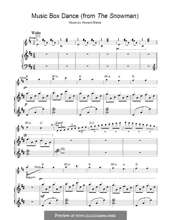 Music Box Dance: Für Stimme und Klavier (oder Gitarre) by Howard Blake
