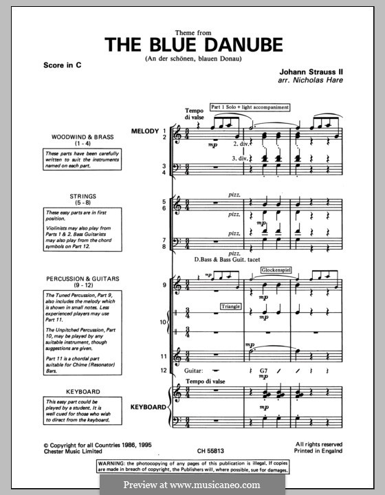 An der schönen blauen Donau, Op.314: Schulorchesterpack by Johann Strauss (Sohn)