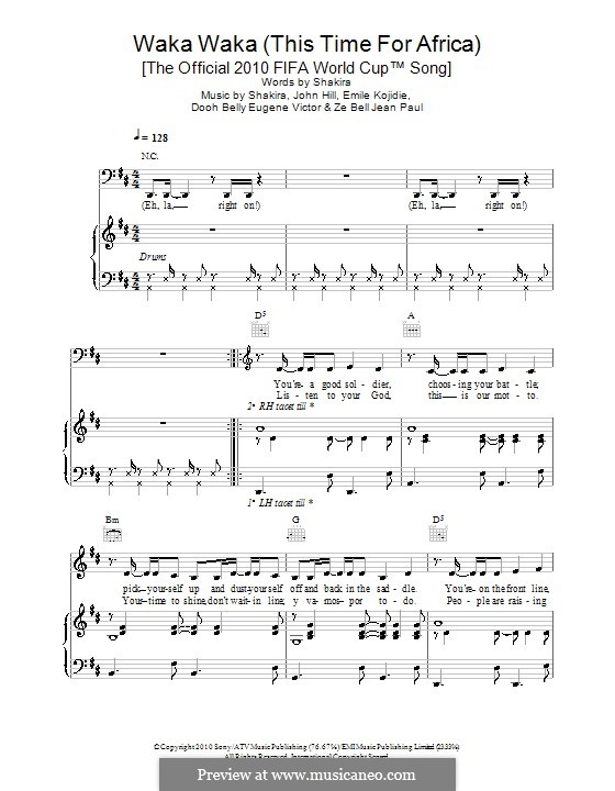 Waka Waka (This Time for Africa): Für Stimme mit Klavier oder Gitarre (Shakira feat. Freshlyground) by John Leubrie Hill, Shakira, Dooh Belly Eugene Victor, Emile Kojidie, Ze Bell Jean Paul