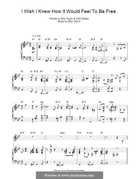 I Wish I Knew How it Would Feel to Be Free: Für Stimme mit Klavier oder Gitarre (Nina Simone) by Billy Taylor