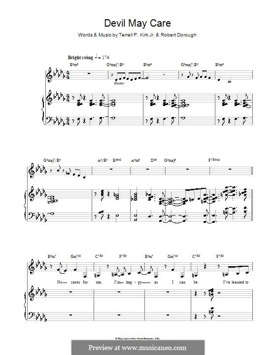 Devil May Care (Diana Krall): Für Stimme und Klavier (oder Gitarre) by Bob Dorough, Terrell P. Kirk Jr.