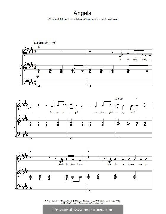 Angels: Für Stimme und Klavier (oder Gitarre) by Guy Chambers, Robbie Williams