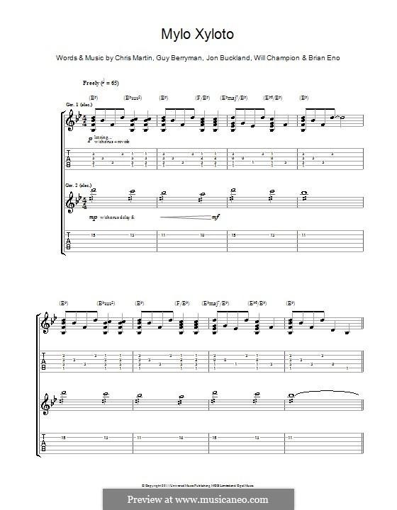 Mylo Xyloto (Coldplay): Für Gitarre mit Tabulatur by Brian Eno, Chris Martin, Guy Berryman, Jonny Buckland, Will Champion