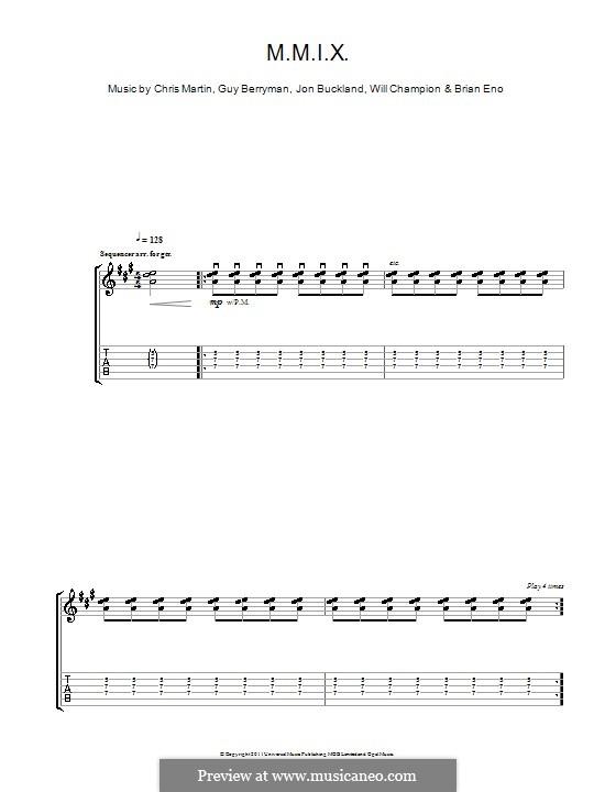 M.M.I.X. (Coldplay): Für Gitarre mit Tabulatur by Brian Eno, Chris Martin, Guy Berryman, Jonny Buckland, Will Champion