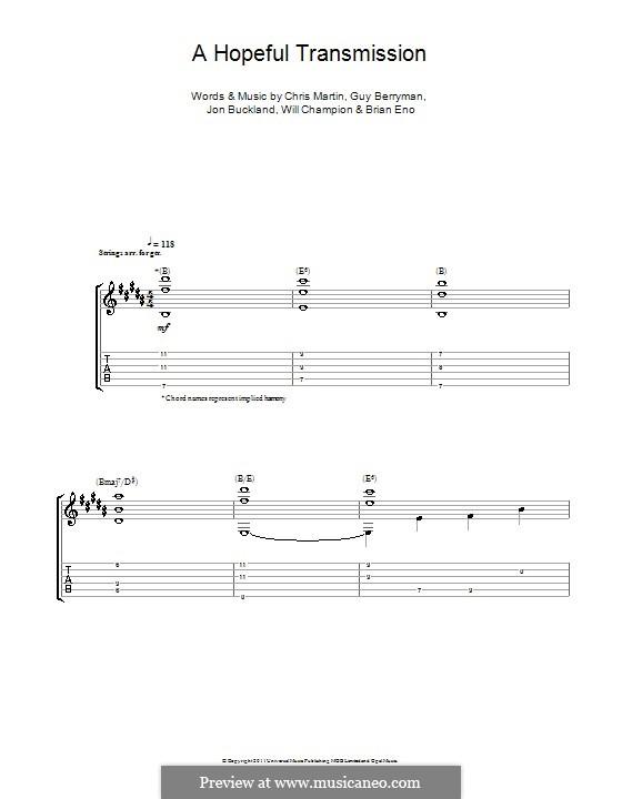 A Hopeful Transmission (Coldplay): Für Gitarre mit Tabulatur by Brian Eno, Chris Martin, Guy Berryman, Jonny Buckland, Will Champion