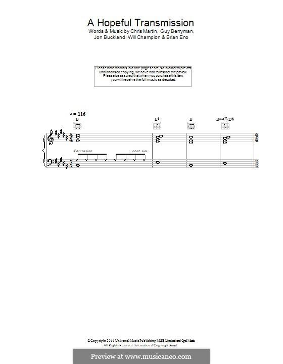 A Hopeful Transmission (Coldplay): Für Stimme mit Klavier oder Gitarre by Brian Eno, Chris Martin, Guy Berryman, Jonny Buckland, Will Champion