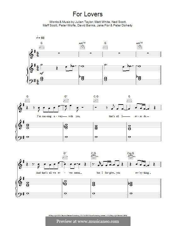 For Lovers (Wolfman feat. Pete Doherty): Für Stimme und Klavier (oder Gitarre) by David Banks, Jake Fior, Julian Taylor, Maff Scott, Matt White, Ned Scott, Pete Doherty, Peter Wolfe